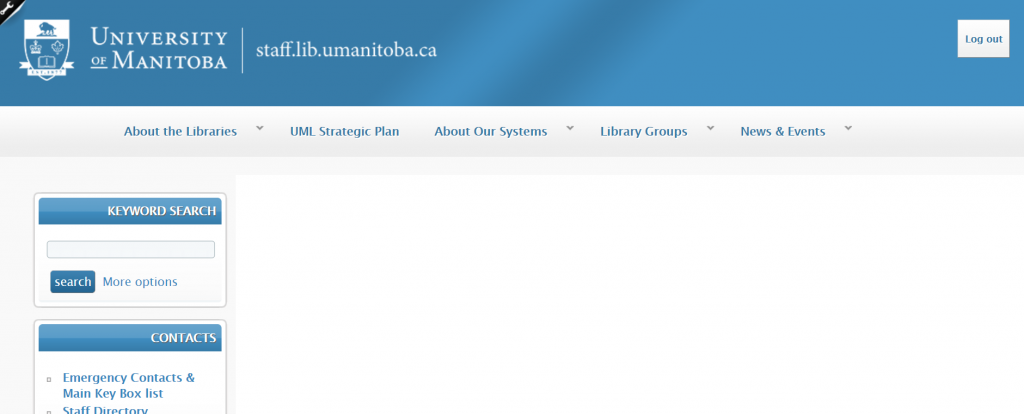 A screenshot of an intranet home page menu and layout.