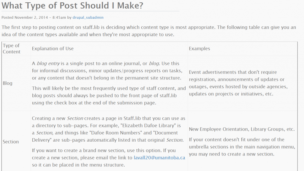 A screenshot of a drupal page explaining when to use different content types when posting content to the intranet.