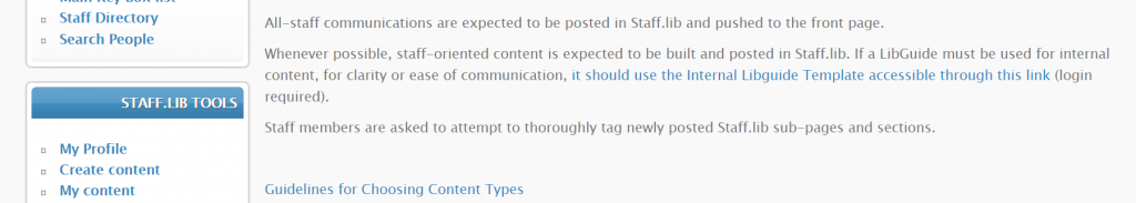A screenshot of a post explaning basic content posting guidelines for the intranet.